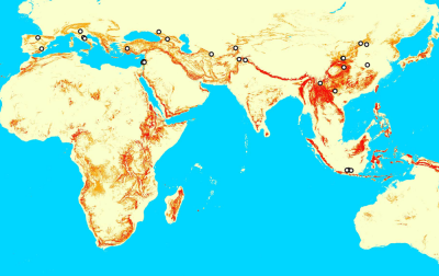 Fig. 3. Distribution of complex, low-altitude and climatically favourable landscapes (red/orange) and H. erectus sites (Winder et al., in review)