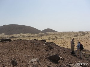 Fig. 2. The Jebel Akwah cinder cone and lava flows, Jizan Province. Photo: R. Inglis, 2013