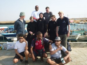 Figure 6: Saudi–British Dive Team prior to their first collaborative dive: Top: Waleed Mozayen, Garry Momber; Middle: Brandon Mason, Janet Gillespie, Christin Mason, Lauren Tidbury, Geoff Bailey; Bottom: Faris Hamzi, Abdullah Al Haiti, Jumah Al Sadiq (Photo: Muzna Bailey: 2014).
